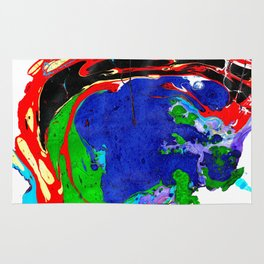 Marble Ink in Blue Green Red Black Purple Rug