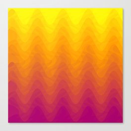 Pink and Yellow Ombre - Waves Canvas Print