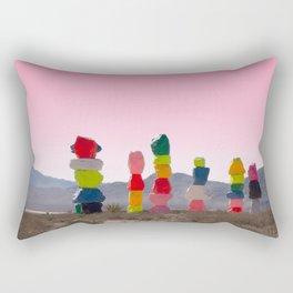 Seven Magic Mountains with Pink Sky - Las Vegas Rectangular Pillow