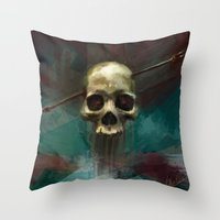 robin hood Throw Pillows featuring Robin by Anne the Viking