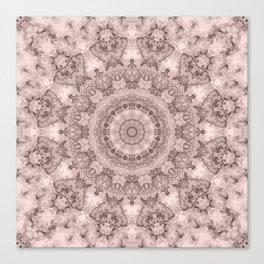 Pink marble kaleidoscope, ornament elements print Canvas Print