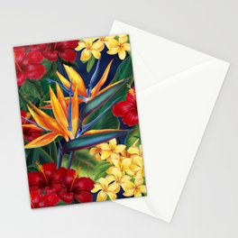 Tropical Paradise Hawaiian Floral Illustration Stationery Cards