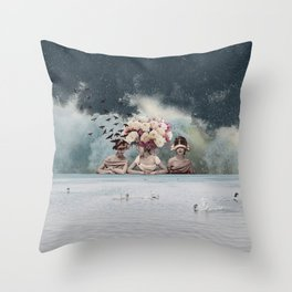 Bridesmaids of the Windy Bride Throw Pillow