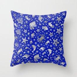 Sea life pattern Silver on Lapiz Lazuli Throw Pillow
