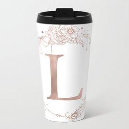Letter L Rose Gold Pink Initial Monogram Metal Travel Mug