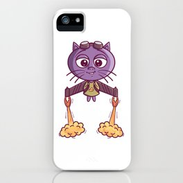 Flying Jetpack Rocket Cat Launching Sky iPhone Case