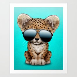 Cute Baby Leopard Wearing Sunglasses Art Print