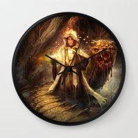 wizard Wall Clocks featuring Wizard queen  by Alexandrescu Paul