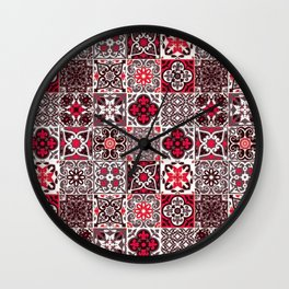 -A33- Red Lovely Moroccan Tiles Design. Wall Clock