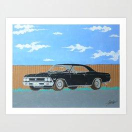 1966 black chevelle SS Art Print