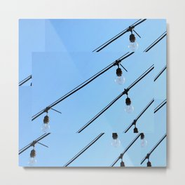 Light Bulb Art - Hanging Lights On Blue - Sharon Cummings Metal Print