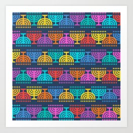 Hanukkah Menorah Pattern 2 Art Print