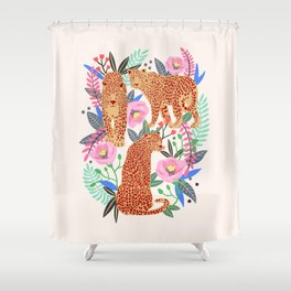The Leopards, leopard print, animal print, flower print Shower Curtain