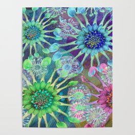 Abstract Passion Flower Burst Poster
