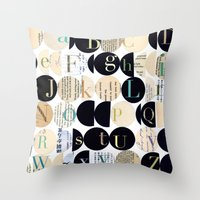 alphabet Throw Pillows featuring Alphabet by maria carluccio