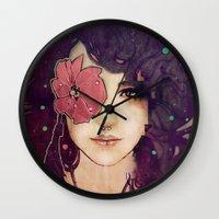 jenny liz rome Wall Clocks featuring Liz by Megan Lara