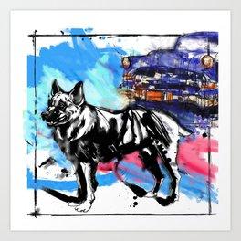 German Shepherd pop art Art Print