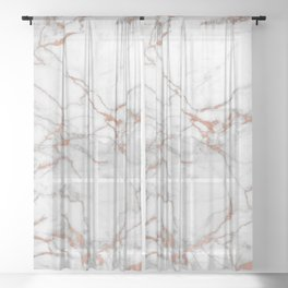 White & Gold Faux Marble Sheer Curtain