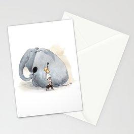Brushing Elephant Stationery Cards