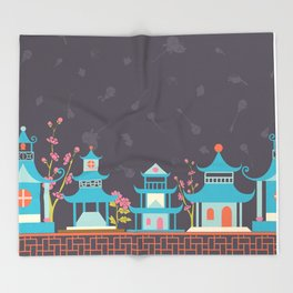 Chinoiserie border Throw Blanket