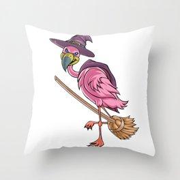 Halloween Witch Flamingo Throw Pillow