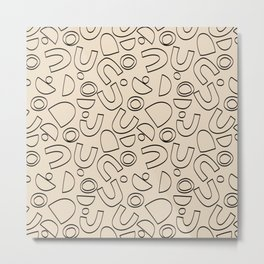Beige Arches Shapes Pattern Metal Print