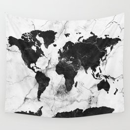 world map marble 3 Wall Tapestry