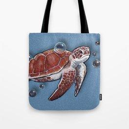Turtle Swimming, Bubbles, Ocean Blue, Wildlife Art Tote Bag