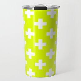 Chartreuse Plus Sign Pattern Travel Mug