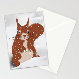 Red squirrel in the winter snow with white snowflakes cute home decor nursery drawing Stationery Cards