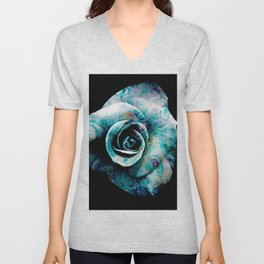 Fluid Nature- Marbled Blue Rose Unisex V-Neck