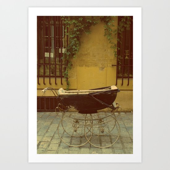 Vintage Baby Carriage in Aix in Provence, France Art Print