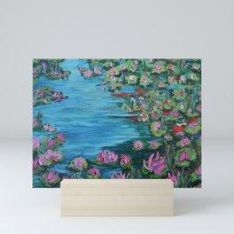Lily Pond, Impressionism Painting, Pond Flowers Mini Art Print