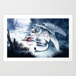 Pouncing Snow Art Print