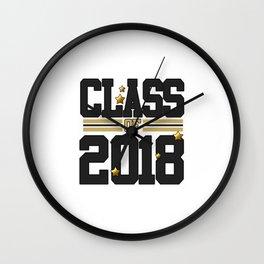 class of 2018 graduation grade senior 2018 new student love art gold hot Wall Clock