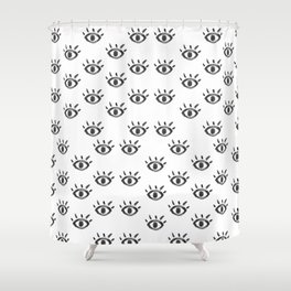 Hand drawn black white watercolor eye pattern Shower Curtain