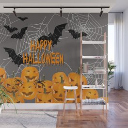 Pumpkins Happy Halloween Illustration Wall Mural