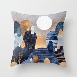 Little Land Of Pebbles - Blue Throw Pillow