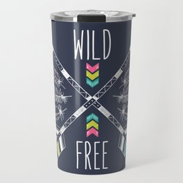 """Ethnic frame made of feathers, threads and beads with text """"Wild and Free"""". Freedom concept. Travel Mug"""