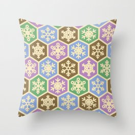 Modern Green Purple Brown Christmas Holiday Pattern Throw Pillow