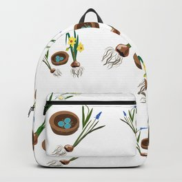 Easter flowers and birds nest pattern Backpack