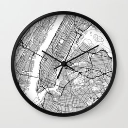 New York City Neutral Map Art Print Wall Clock