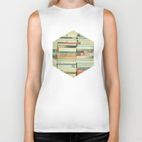 pretty Biker Tanks featuring Bookworm by Cassia Beck