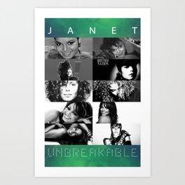 Janet Jackson Unbreakable - Black and White Art Print