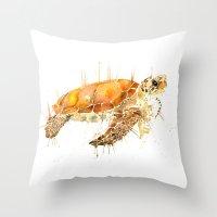 sea turtle Throw Pillows featuring Sea Turtle  by Meg Ashford