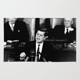 John F Kennedy JFK Speech Rug