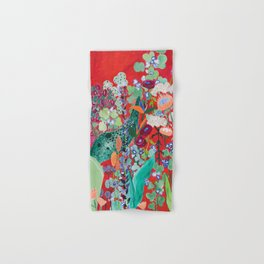 Red floral Jungle Garden Botanical featuring Proteas, Reeds, Eucalyptus, Ferns and Birds of Paradise Hand & Bath Towel
