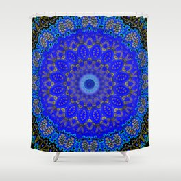Mandala in Cobalt And Gold Shower Curtain