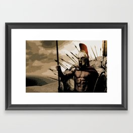 300 Leonidas Spartan Color Illustration, Movie Pop Art, Home Decor Poster Framed Art Print