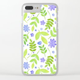Purple Floral Watercolor Pattern Clear iPhone Case